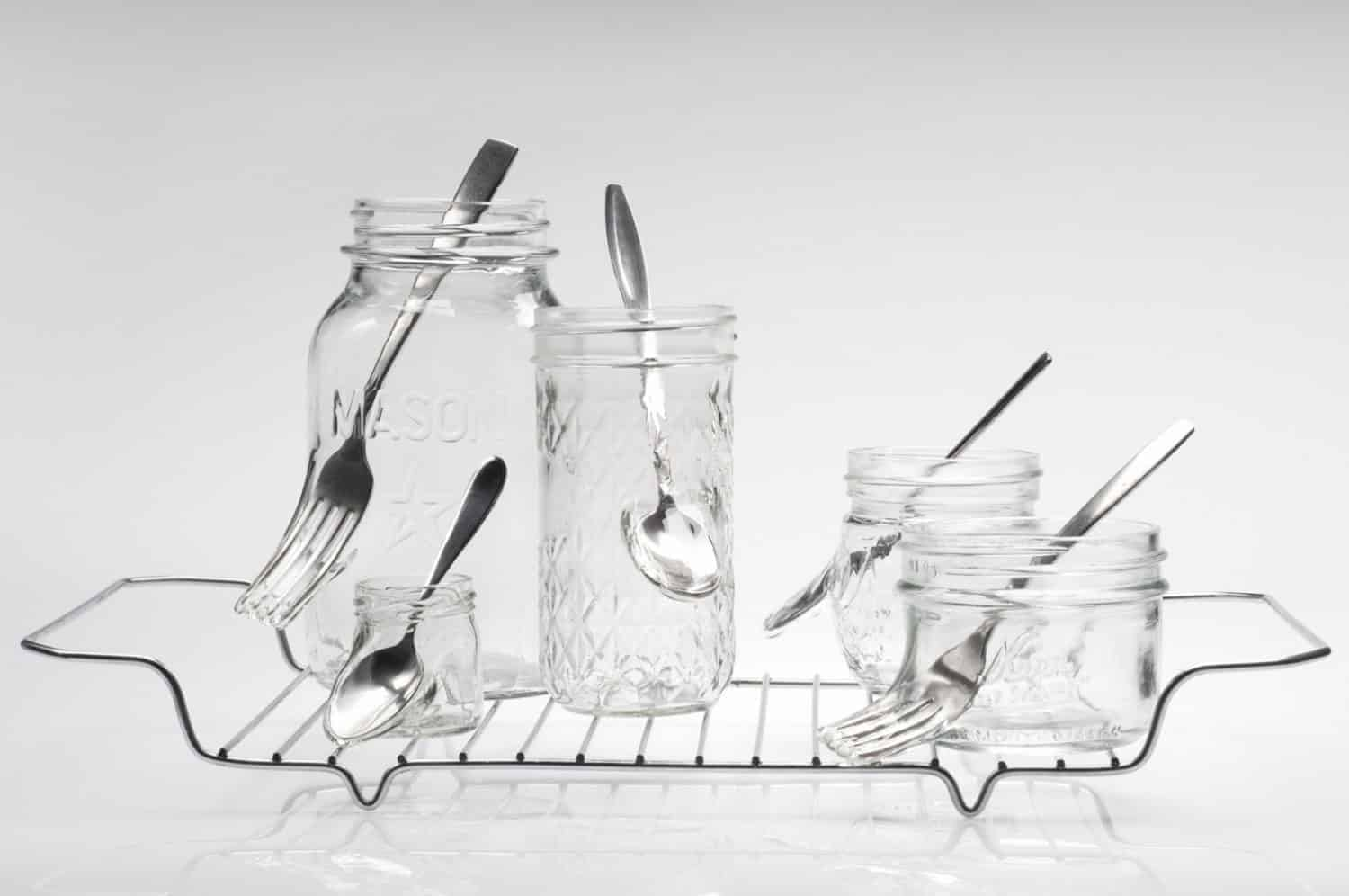 """Waste not want not,"" Jelly jars, cutlery, stainless steel, 8.75 x 16.25 x 9 inches, photo credit: Elizabeth Torgerson-Lamark"