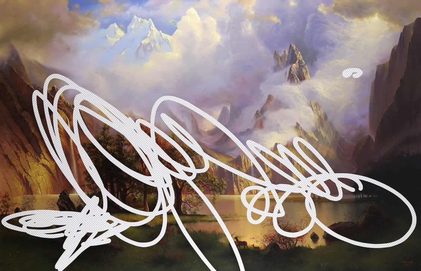 """""""The Most Beautiful Place Is Far From Here"""" (Rocky Mountain Scene, White House Art Collection Erasure No. 16)"""