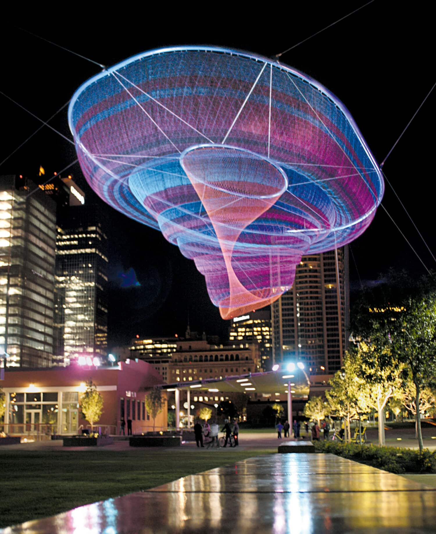 Janet Echelman, Her Secret is Patience, 2009, Civic Space Park, 424 North Central Avenue, Phoenix, AZ 85004, United States. Photo: Christina O'Haver