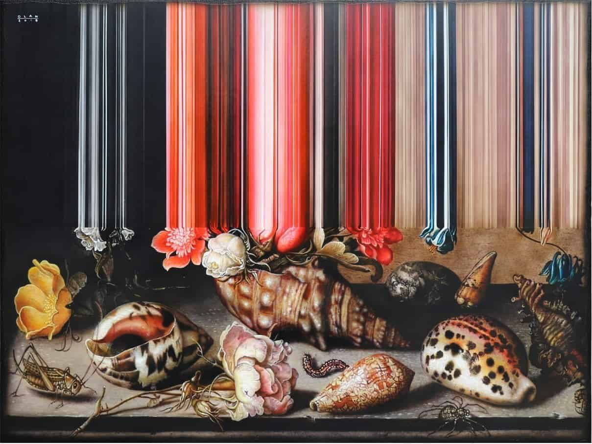 """Still Life of Flowers, Shells and Insects"""" (2019), acrylic on canvas, 76.2 x 101.6 cm. All images courtesy of the artist, the Working Animals Art Projects and Yavuz Gallery"""