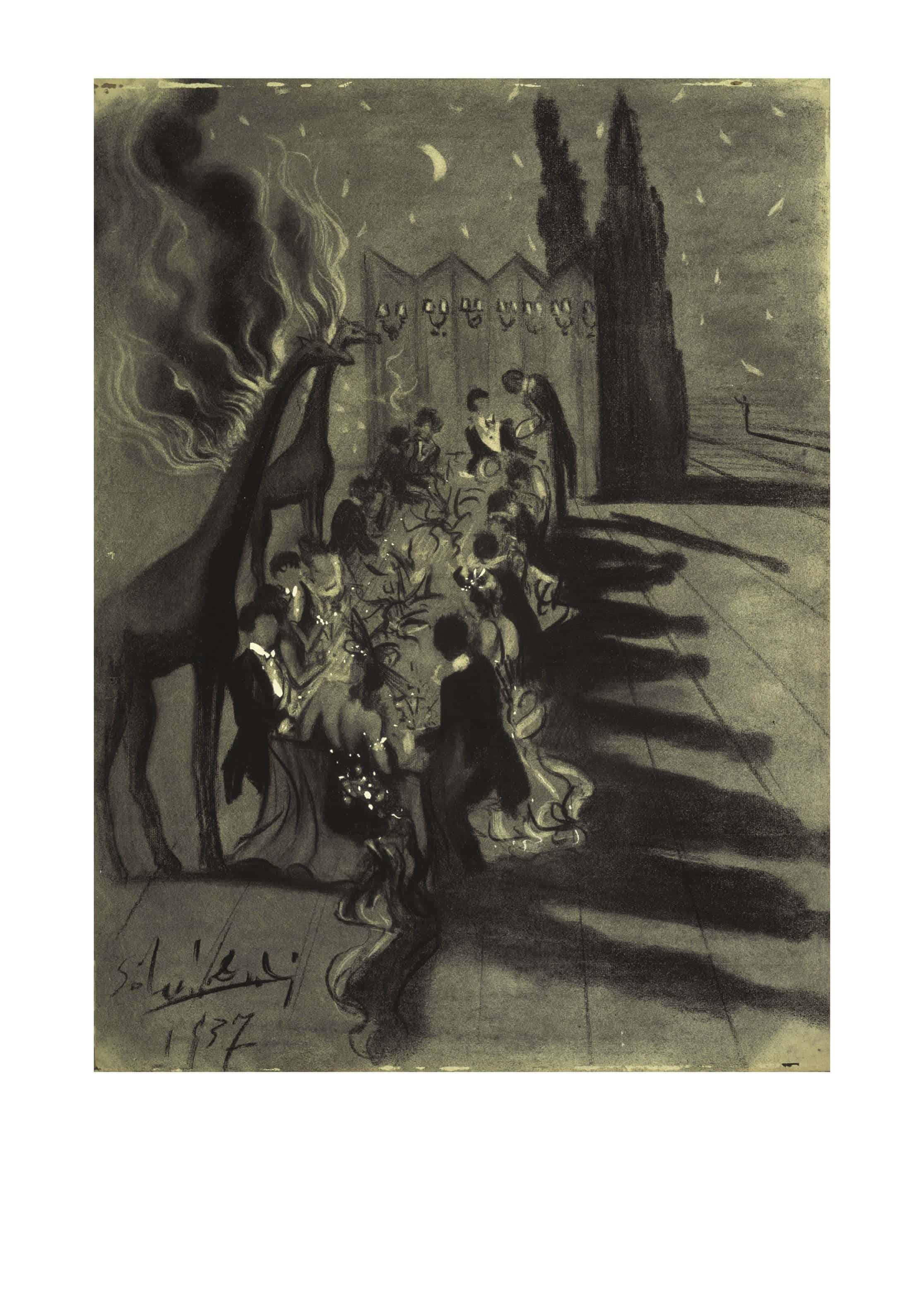Salvador DALÍ Dinner in the Desert lit by Burning Giraffes Dîner dans le désert éclairé par les girafes en feu Avondmaal in de woestijn verlicht door brandende giraffen 1937 Charcoal on paper 61,5 x 45,7 cm Collection of The Dali Museum, St. Petersburg FL © Salvador Dalí, Fundació Gala-Salvador Dalí, (corresponding Rights Society), 2019