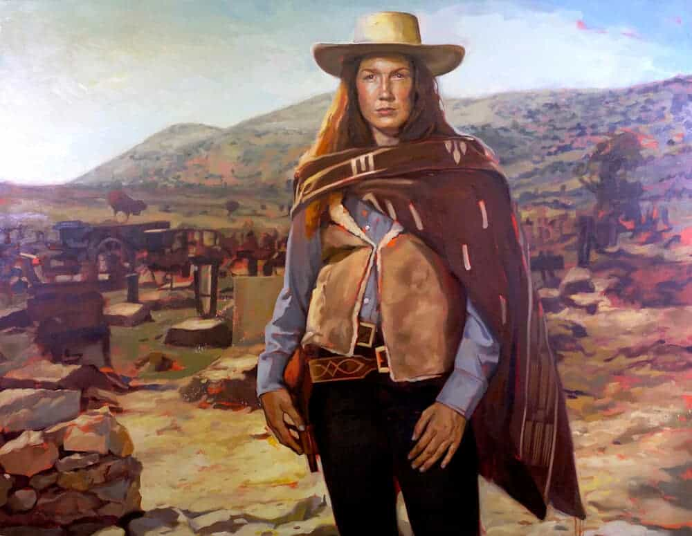 "Virginia Eastwood in ""The Good, the Bad and the Ugly"", 2013. Oil on canvas, 62″ x 80″."