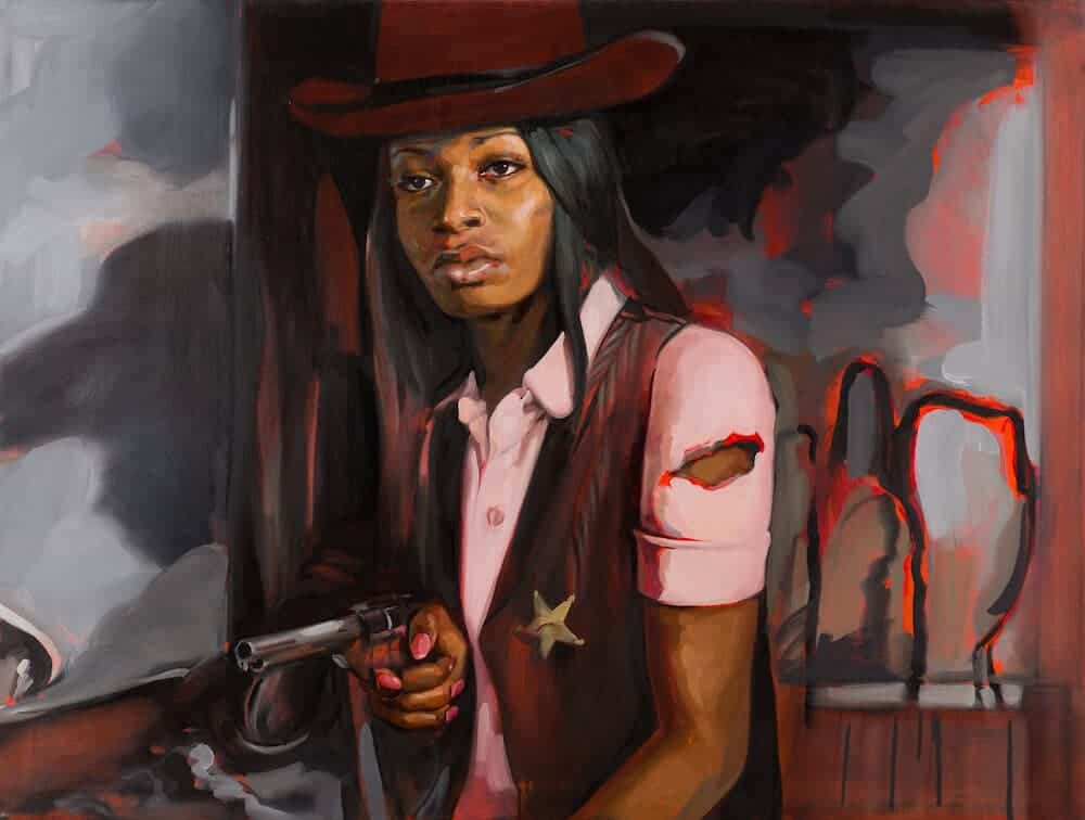 "Liakesha Cooper in ""High Noon"", 2013. Oil on canvas, 36″ x 48″."