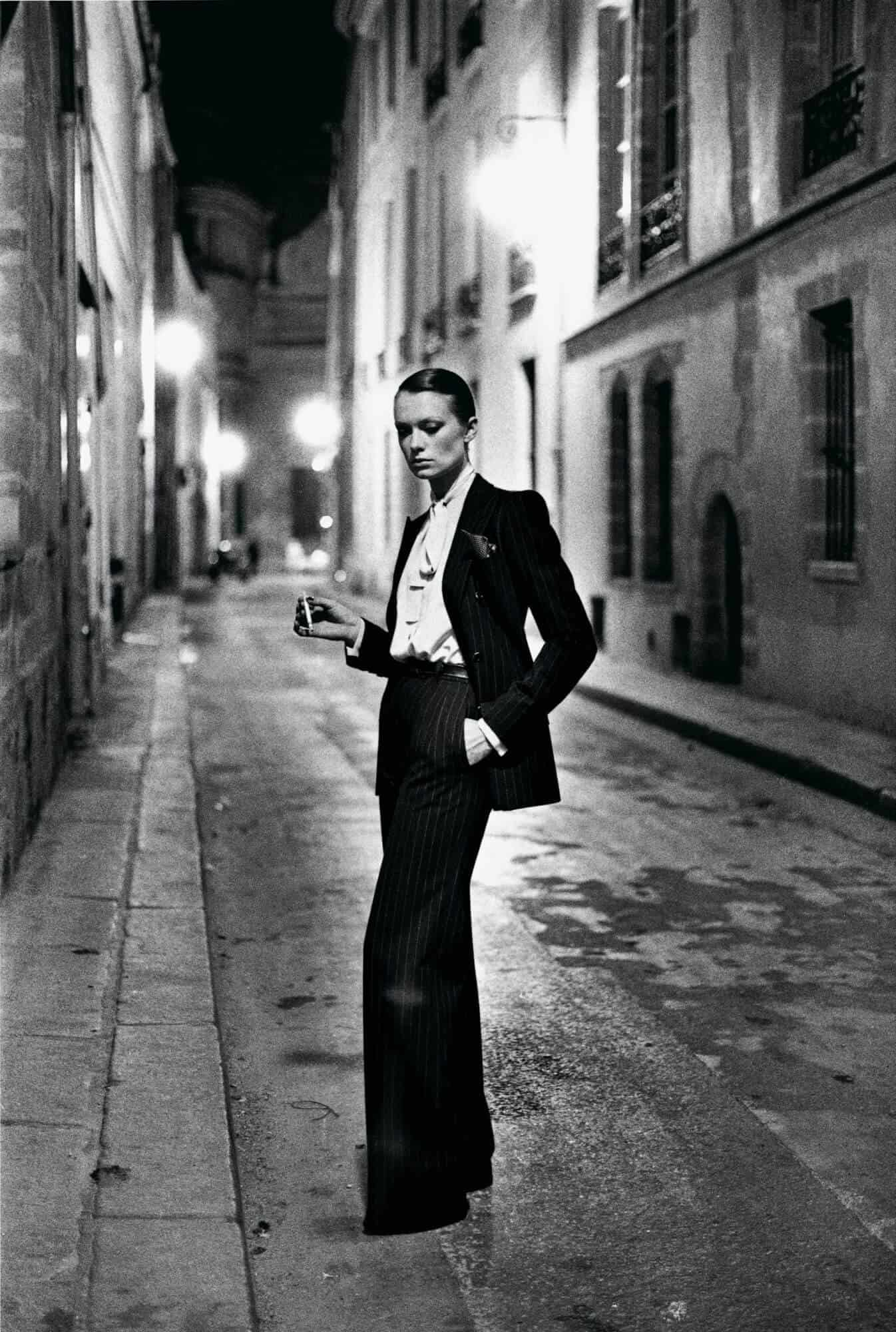 Yves Saint Laurent, French Vogue, Rue Aubriot, Paris 1975 © Helmut Newton / Helmut Newton Estate