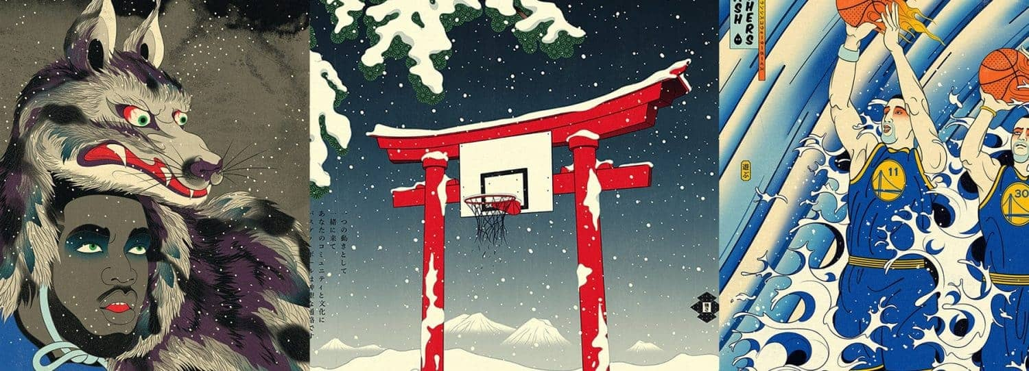 basketbal en Ukiyo-e