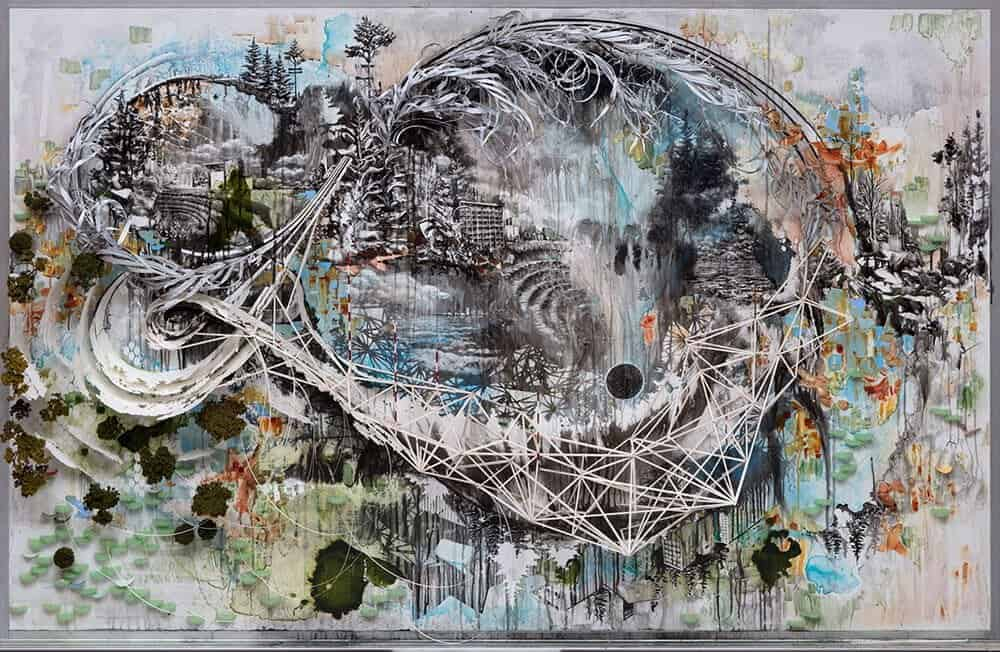 Something Condensed From Whole, 2015. Painting created on a whiteboard with relief elements.