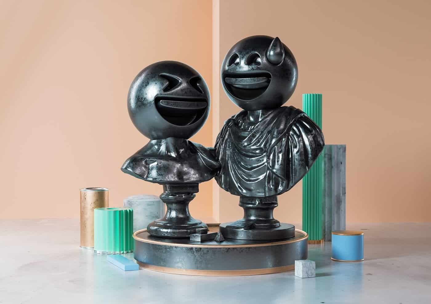 sculpturen en emoji's